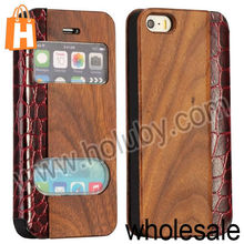 For iPhone 5 Hybrid Wood Case, Window View Magnetic Flip Wood Crocodile Leather Case for iPhone 5 5S