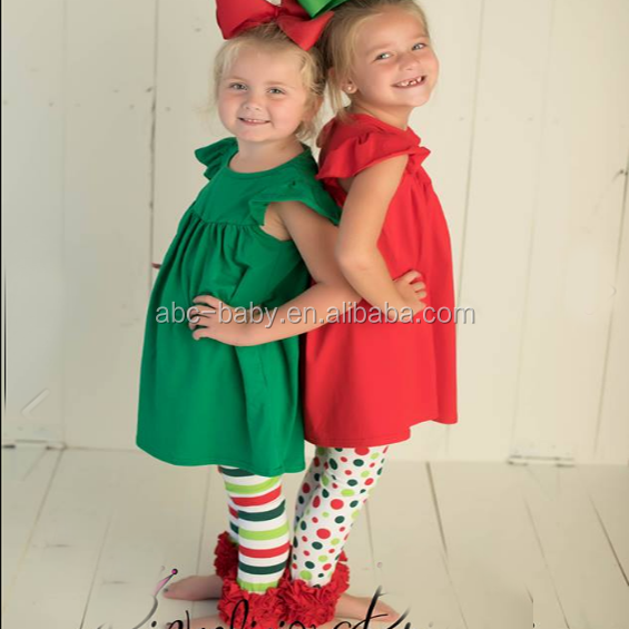 girls christmas clothing new style twins green/red outfits toddlers frock design clothing