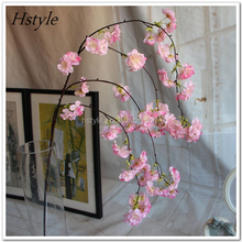 Wholesale China Decorative Artificial Vase Flower Hanging Cherry Blossom for Home Decoration FZH063