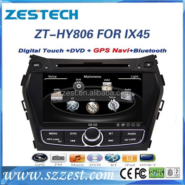 ZESTECH 2 din hd touch screen gps oem car dvd for HYUNDAI IX45 SANTA FE 2013 car radio audio stereo cd dvd player