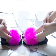 Fur slippers Size New Womens Slip Fur Sandals Ladies Elegant Flat Slipper