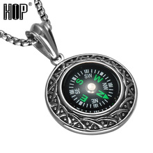 Fashion Mens 316L Stainless Steel Compass Pendant Necklace