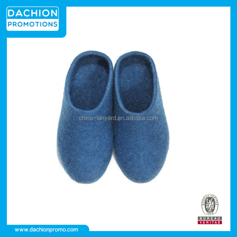 Blue Felted Wool Hard Soled Slippers