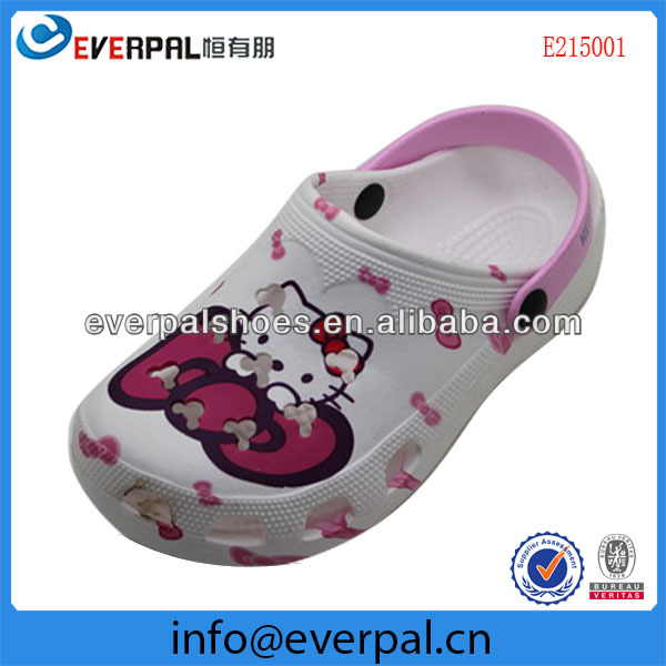 Cute warter transfer printing girls' eva shoes kids clogs