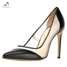 Women's Sexy Mesh Plain Patent Black PU Stiletto High Heel Big Size Shoes Pointed Toe Footwear Ladies Pumps Sandals