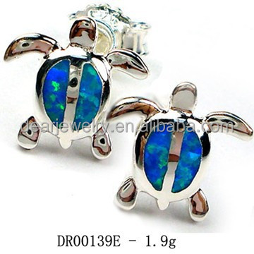 High Quality ! Blue Opal Earrings , Opal Turtle Jewelry, Stud Opal Earring Pay By Paypal