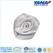 Cheap wholesale small silk artificial handmade flower rose bud with ribbon