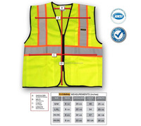 Safety Class 2 Safety Vest High Visibility, Reflective Safety Vests with Three (3) Pockets and front Zipper for Contractors and