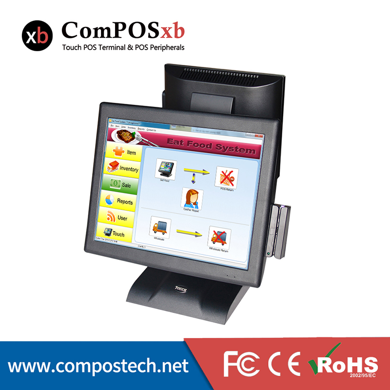POS System 15 Inch All In One Windows Double Touch Screen Restaurant Terminal With Card Reader For Cash Register