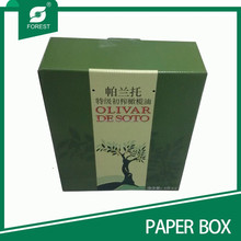 POPULAR COLOR GREEN CUSTOM 2 BOTTLE PAPER OLIVE OIL PACKING BOX