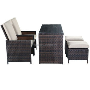 hot popular outdoor steel frame 5pcs rattan cube KD dining table chair set