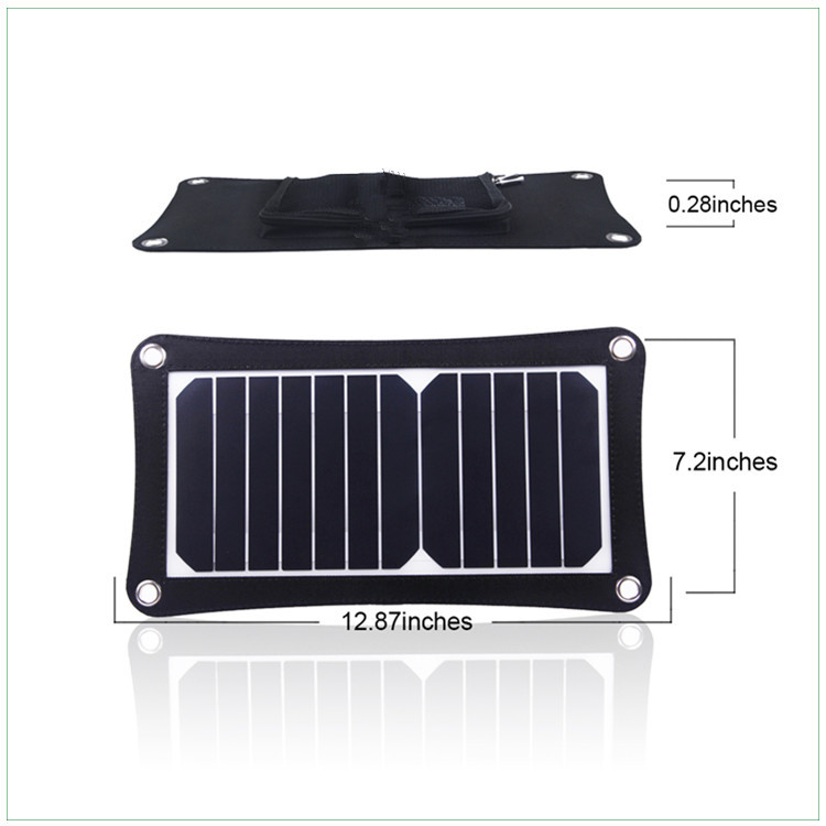 6.5W portable solar charger DC5V 1.3A with USB socket for mobile phones