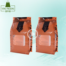 personalized square bottom plastic bag food packaging ziplock plastic bags with window for coffee/tea