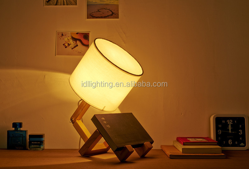 Height 50cm Wooden Robot Table Lamp White Lampshade Bedroom Reading Desk Lamp
