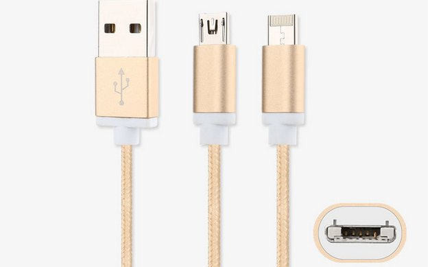 2016 Apr new Dual purpose Micro-lighting USB cable for iPhone and Samsung Phones Universal Charging Data Cable