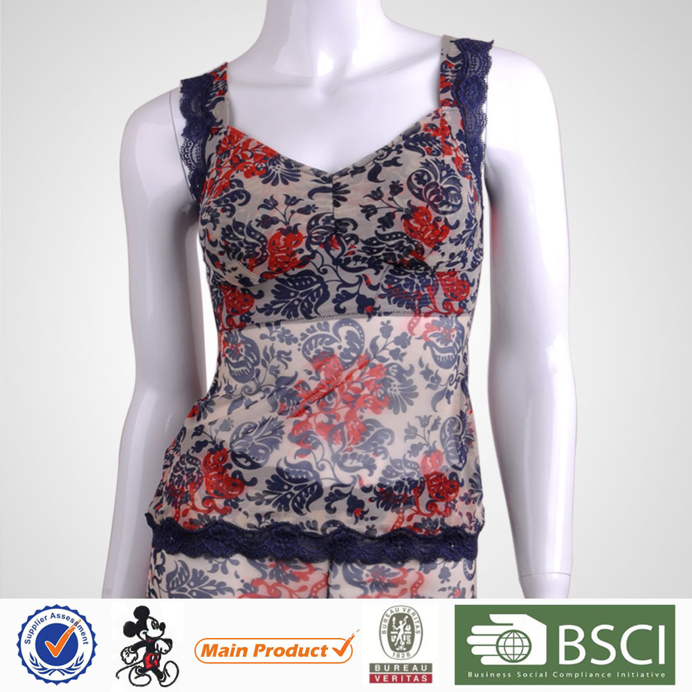 2015 New Products Pretty Pattern Young Lady Lace and Print Tank Top No Bra