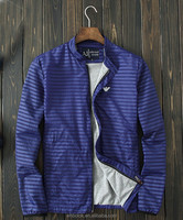 Men's fashionable stripe nylon jacket thin jacket