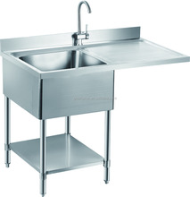 Restaurant Used Free-standing Heavy-duty Commercial Stainless Steel Kitchen Sink with Drainboard GR-302D