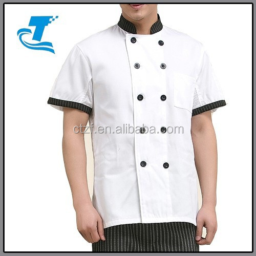 Summer Short Sleeve Double-breasted Chef Coat Uniform