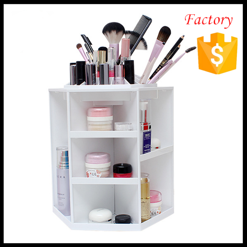 Plastic Makeup Organizer 360 Degree Rotating White Color Cosmetic Storage