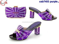 purple color fashion design colorful stones ornament italian shoes and bag set for women party csb7403