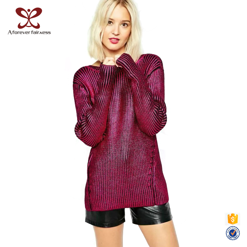 Women Winter Rose Red V-Neck Lighted Christmas Sweater Cable Knit Sweater Winter Free Knitted Sweater Patterns