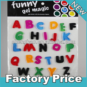 removable colorful alphabet gel sticker for window decoration