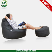 Leather soft sofas customized lounge bean bag chair with bean bag ottoman