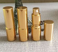 wholesale empty 10ml gold color UV plated glass lotion bottle with pump, glass 10ml mini cosmetic lotion bottle wholesale