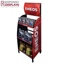 Fresh red sheet metal engine oil display stand with logos