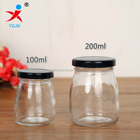 clear mini glass bottle with metal lids for pudding/milk