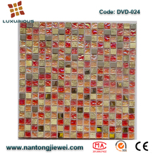 Iridescent Rainbow color Emperador Light,onxy marble mix glass mosaic wall tile