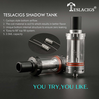 Youngjune 2016 teslacigs shadow tank 22*64mm 3.5ML Cyclops Style bottom airflow and Replaceable glass tube