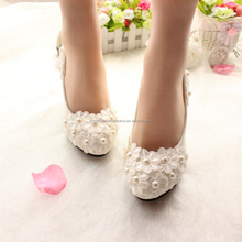 Pointed Toes 3CM/4.5CM/8CM/11CM 2017 New Lace Bridal Wedding Shoes With Ribbons Size EU34-40 MS937