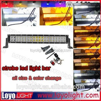 waterproof 120w 300w 36w curved/ stright lightbar color changing flashing led light bar