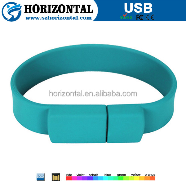 Promotion gift high quality 8GB colorful silicone bracelet usb flash drive with customized logo