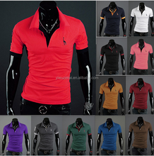 2015 fashion pure color polo shirt Men's short sleeve hood T-shirt with embroidery