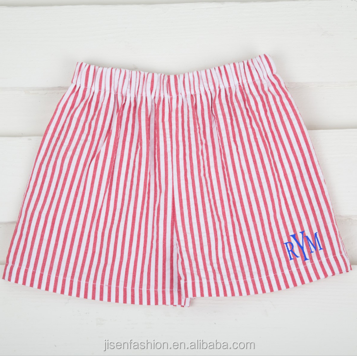 summer boy white and red seersucker stripe elastic shorts