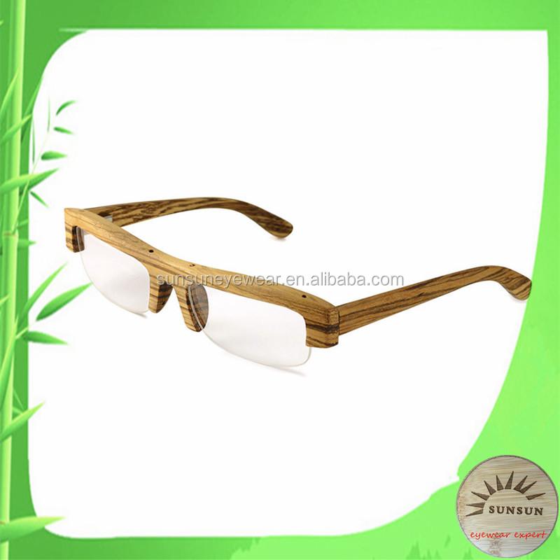 Smart Fashion Rimless Wooden Frame Glasses Half Frame ...
