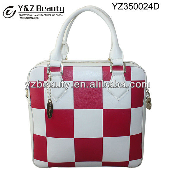 Red and White Fashion Sports Handbag Square Leather Plaid Bag