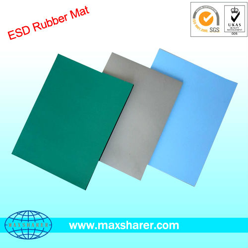 Green/black 2 layer static dissipative esd rubber mat with factory price