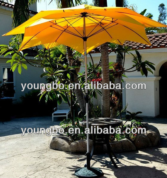 hot selling 9' Outdoor Fiberglass Wind Resistant Patio Yellow Umbrella
