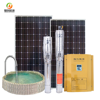 2018 New agricultural irrigation deep well pump 4 inch outlet solar panel