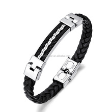 Handmade braided leather wrap stainless steel clasp wirerope pave leather bangle bulk wholesale
