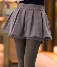 D51582J 2014 autumn and winter pure color women's pleated skirt