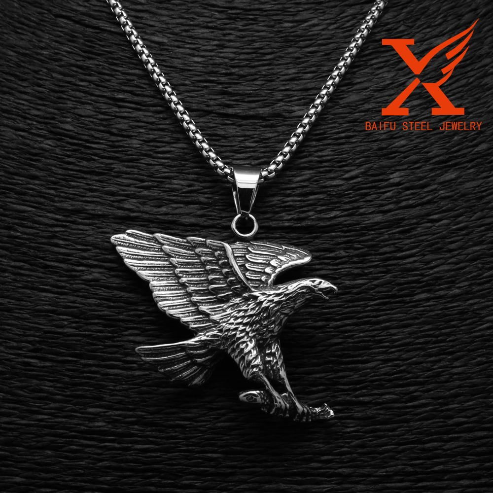Mens Custom Punk Cool Design Vogue Domineering Men's Stainless Steel Silver Black Eagle Pendant