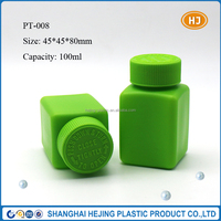 100ml square plastic pill bottle with child proof cap