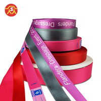 100% Polyester custom logo print single face or double sides printing satin webbing ribbon gift