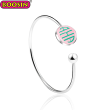2018 Fashion simple open silver bangle pinky charm for aka bracelets