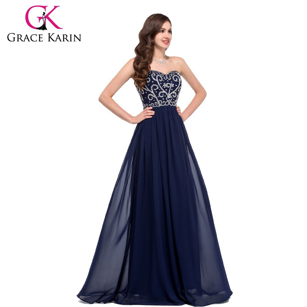 Designers 2015 New Models A-line Sweetheart Beaded Chiffon Navy Blue Evening dress long CL6050-1#